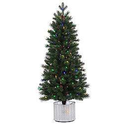 5 Foot Stockton Spruce Artificial Christmas Tree 200 LED Multi Lights