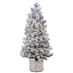 5 Foot Flocked Morgan Artificial Christmas Tree 200 LED Warm White Lights