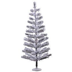 4 Foot Flocked Feather Artificial Christmas Tree Unlit