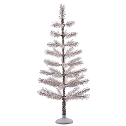 4 Foot Champagne Feather Artificial Christmas Tree Unlit