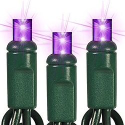 25 LED 5MM Wide Angle Purple All Strobe Christmas Lights Green Wire
