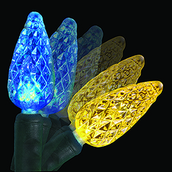 35 led c6 blue and gold colorwave christmas lights green wire - Light Blue Christmas Lights