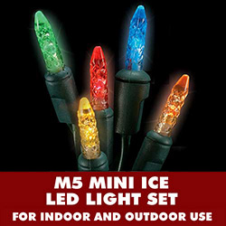 35 LED M5 Mini Ice Multi Lights 4 Inch Spacing Green Wire