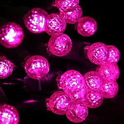 50 LED Interchangable Pink Lights G15 To 5MM Lenses Green Wire