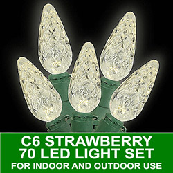 70 Standard Grade LED C6 Strawberry Antique Candle Lights Green Wire