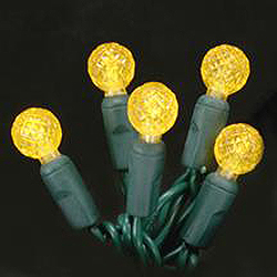 70 LED G12 Yellow Christmas Lights 4 Inch Spacing Green Wire