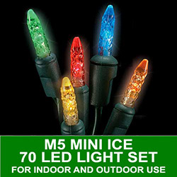 70 LED M5 Mini Ice Multi Lights 4 Inch Spacing Green Wire