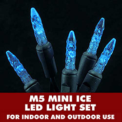 70 LED M5 Mini Ice Blue Lights 4 Inch Spacing Green Wire