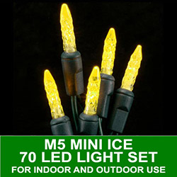 70 LED M5 Mini Ice Gold Lights 4 Inch Spacing Green Wire