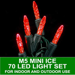 70 LED M5 Mini Ice Red Lights 4 Inch Spacing Green Wire