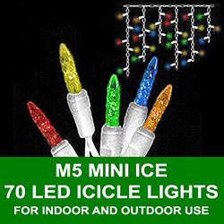 70 LED Commercial Grade M5 Multi Icicle Lights White Wire