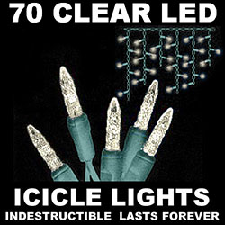 70 LED Commercial Grade M5 Warm White Icicle Fence Lights Green Wire