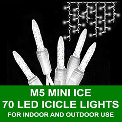 70 LED Commercial Grade M5 Warm White Icicle Lights White Wire
