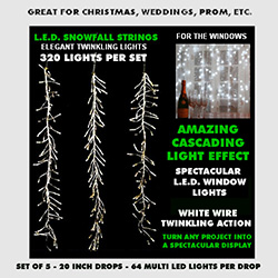 Snowfall String Lights 320 Multi Lights White Wire