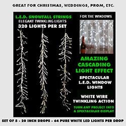 Snowfall String Lights 320 Pure White Lights White Wire