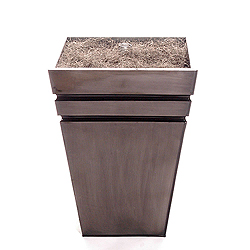 15 Inch Striped Grey Metal Potted Tree Stand