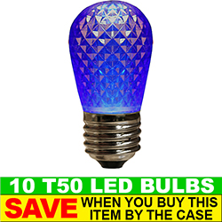 T50 LED Blue Retrofit Night Light Bulb Box of 10