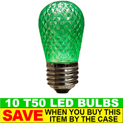 T50 LED Green Retrofit Night Light Bulb Box of 10