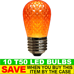 T50 LED Orange Retrofit Night Light Bulb Box of 10