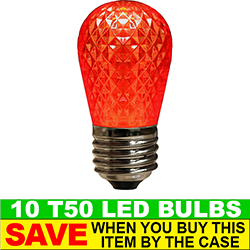 T50 LED Red Retrofit Night Light Bulb Box of 10