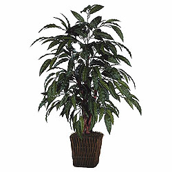 4 Foot Mango Bush Artificial Plant Square Willow Container