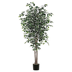 7 Foot Variegated Deluxe Potted Artificial Plant