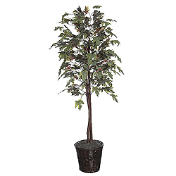 6 Foot Frosted Maple Potted Artificial Plant