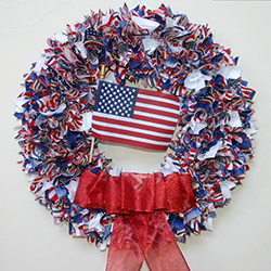 24 Inch Patriotic USA USA USA Fabric Wreath