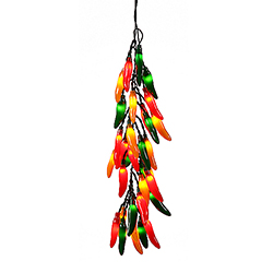 Chili Pepper Bunch Multi Color 35 Incandescent Mini Clear Christmas Light Set Green Wire