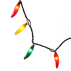 35 Red Chili Pepper Lights - Green Wire - 4 Inch Spacing