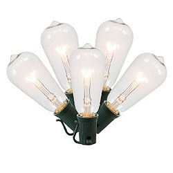 5 Incandescent ST40 Clear Glass C9 Socket Retrofit Replacement Bulbs