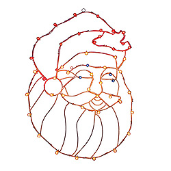Santa Head Wire Frame Decoration - C7 LED Lights