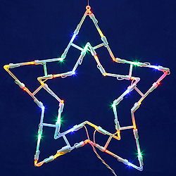 Lighted Blue And White 5 Point Star Wire Frame Decoration - 50 C7 Lights