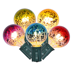 10 Incandescent G40 Multi Color Mercury Christmas Light Set Green Wire