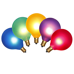 5 Incandescent G50 Globe Frosted Multi Color Retrofit C7 Socket Replacement Bulbs
