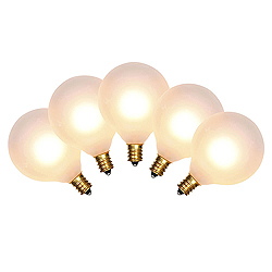 5 Incandescent G50 Globe Frosted White Retrofit C7 Socket Replacement Bulbs