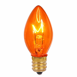 25 Incandescent C7 Amber Twinkle Transparent Retrofit Night Light Replacement Bulbs