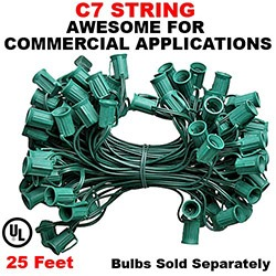 25 Foot C7 Molded Light String 12 Inch Socket Spacing Green Wire
