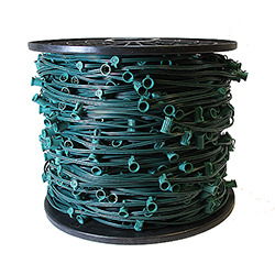 100 Foot C7 Socket Christmas Light Set 12 Inch Spacing Green Wire