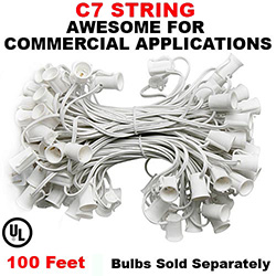 100 Foot C7 Socket Christmas Light Set 12 Inch Spacing White Wire
