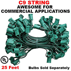 25 Foot C9 Light String 12 Inch Socket Spacing Green Wire