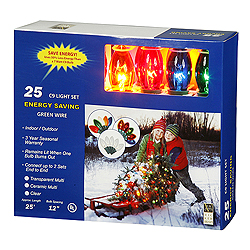 25 C9 Transparent Multi Lights 12 Inch Spacing Light Set