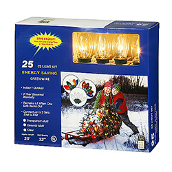 25 C9 Clear Christmas Light Set Green Wire