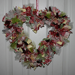 18 Inch Victorian Chic Fabric Heart Wreath
