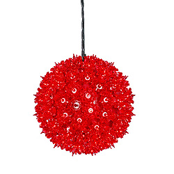100 Incandescent Mini Red Twinkle Star Sphere Light 7.5 Inch