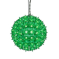 100 Incandescent Mini Green Twinkle Star Sphere Light 7.5 Inch