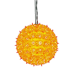 100 Incandescent Mini Orange Twinkle Star Sphere Light 7.5 Inch