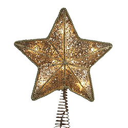 8 Inch Gold Two Sided Star Tree Top 10 Clear Lights