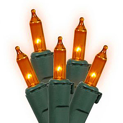100 Mini Orange Christmas Light Set Green Wire 3 Inch Spacing
