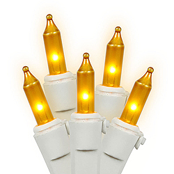 100 Mini Gold Christmas Light Set White Wire 3 Inch Spacing
